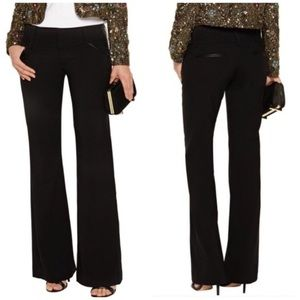 Alice + Olivia Black Faux Leather Trimmed Pants